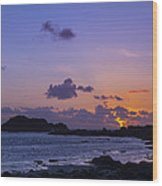 Sunset On Guernsey Wood Print