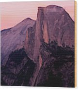 Sunset On Half Dome As Seen Wood Print