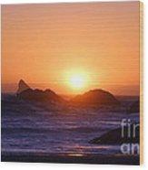 Sunset On Harris Beach Wood Print