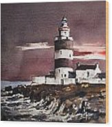 Sunset On Hook Head Wexford Wood Print