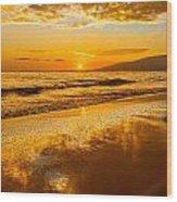Sunset On Lahaina Wood Print
