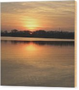 Sunset On Lake Wood Print