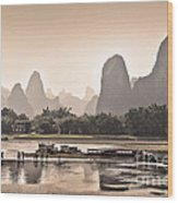 Sunset On Li River Wood Print