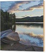 Sunset On Long Pond Wood Print