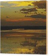 Sunset On Medicine Lake Wood Print
