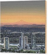 Sunset On Mount Hood Wood Print
