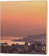 Sunset On Mountain City Wood Print