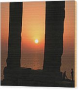 Sunset On Naxos Island Greece  Wood Print