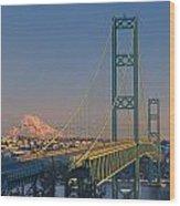 1a4y20-v-sunset On Rainier With The Tacoma Narrows Bridge Wood Print