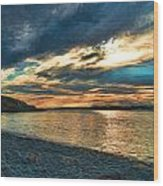 Sunset On Rocky Beach Wood Print