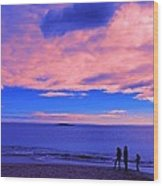 Sunset On Sand Beach Acadia National Park Maine Wood Print