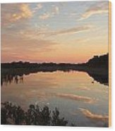 Sunset On Sandpiper Pond Wood Print