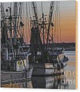 Shem Creek Sunset - Charleston Sc Wood Print