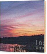 Sunset On Teeple Lake Wood Print