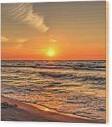 Sunset On The Baltic Sea Beach Of Leba In Poland Wood Print