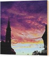 Sunset On The Basilica  Wood Print