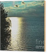 Sunset On The Bay Of Green Bay Wi Wood Print