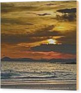 Sunset On The Beach At Krabi Thailand Wood Print