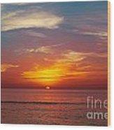 Sunset On The Beach. Wood Print