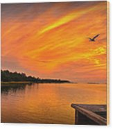 Sunset On The Cape Fear River Wood Print
