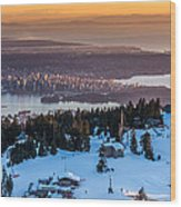 Sunset On The City Of Vancouver Wood Print