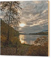 Sunset On The Columbia Wood Print