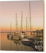 Sunset On The Dock Wood Print by Southern Photo