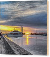 Sunset On The Docks Wood Print