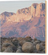 Sunset On The Guadalupe Mountains Wood Print