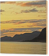 Sunset On The Gulf Of Alaska Wood Print