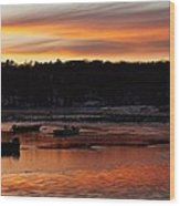 Sunset On The Harbor Wood Print