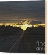 Sunset On The Highway Wood Print