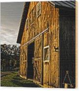 Sunset On The Horse Barn Wood Print