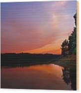 Sunset On The Kennebec River Wood Print