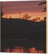 Sunset On The Lake Wood Print