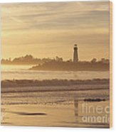 Sunset On The Lighthouse In Santa Cruz Harbor Wood Print