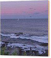 Sunset On The Marginal Way In Ogunquit Maine Wood Print