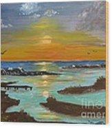 Sunset On The North Sea Wood Print