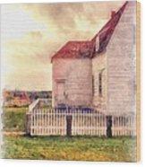 Sunset On The Old Farm House Wood Print