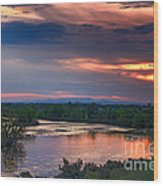 Sunset On The Payette  River Wood Print