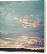 Sunset On The River In The Peruvian Amazon Jungle Wood Print