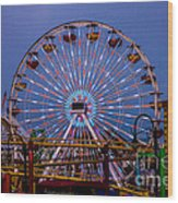Sunset On The Santa Monica Ferris Wheel Wood Print