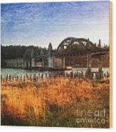 Sunset On The Siuslaw River Wood Print
