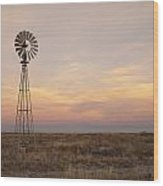 Sunset On The Texas Plains Wood Print by Melany Sarafis
