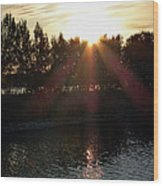 Sunset On The Volga River Wood Print