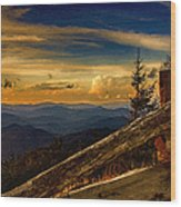 Sunset On Top Of Mount Mitchell Wood Print