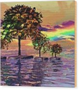 Sunset On Trees And Ocean Wood Print
