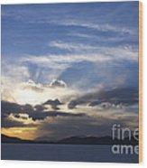 Sunset On Uyuni Salt Flats Wood Print