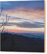 Sunset On Water Rock Knob Blue Ridge Parkway Scenic Photo Wood Print