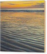 Sunset On Wet Sandy Beach Seascape Fine Art Photography Print  Wood Print